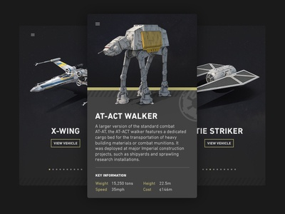 Star Wars Vehicle Guide UI cards at-at x wing guide vehicle ui one rogue wars star rogue one star wars