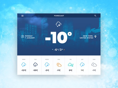 Weather UI Widget typography white widget design ux ui weather