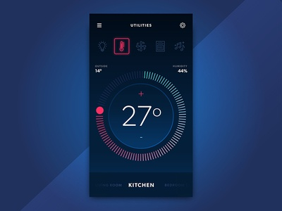 Smart Home App UI ios ux ui design mobile app control heating temperature smart home smart