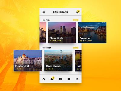 Mobile Travel Dashboard UI flight vacation new york globe world travel ios ui profile dashboard cards mobile