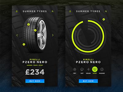 Tyre Comparison App iphone icon mobile minimal dark concept clean app ui design