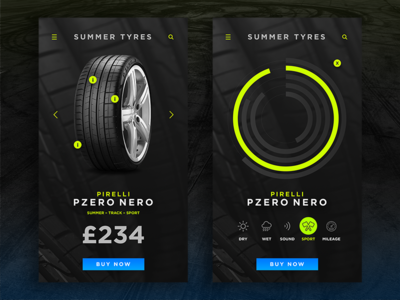 Tyre Comparison App iphone icon mobile minimal dark concept clean app ui design