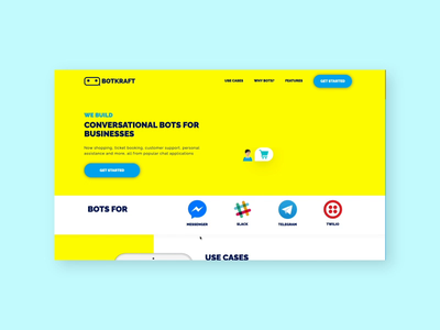Chatbot Agency Landing Page UI animation illustration chatbot website design landing page concept ui design minimal design landing page design landing page ui landing page