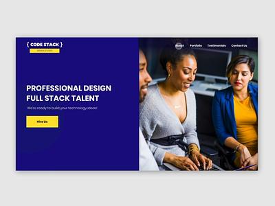 Landing page design for web development agency. yellow dark blue web design company web design agency web design landing page ui design illustration animation