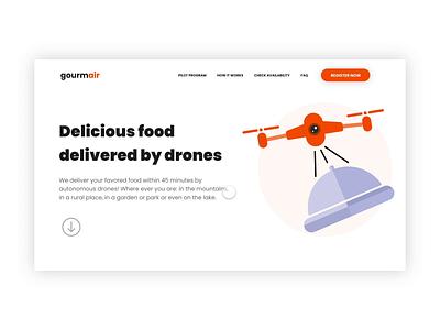 Landing Page - Drone Food Delivery Service food delivery app food delivery service landing page concept landing page design illustration ui design animation landing page