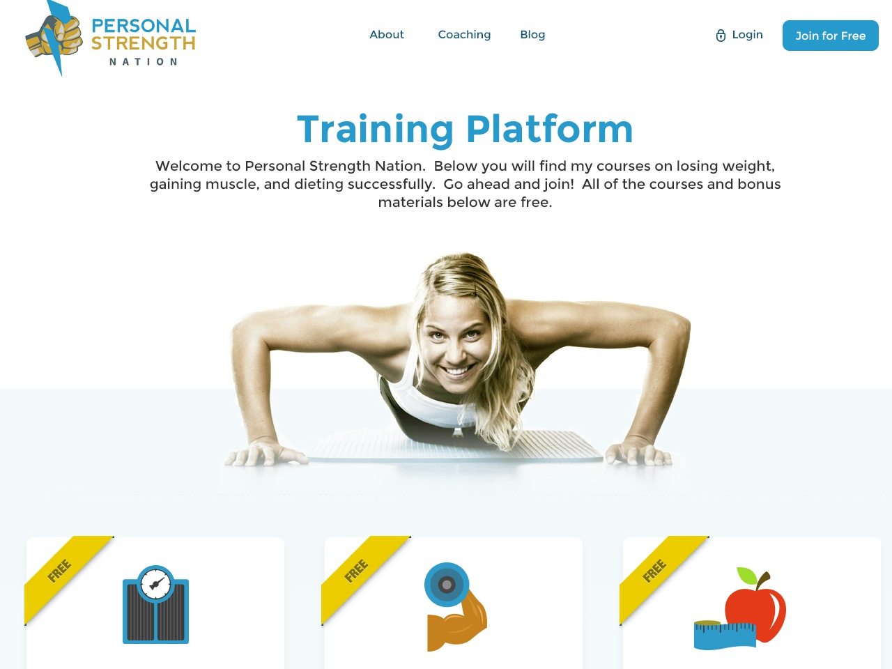 Body training program landing page