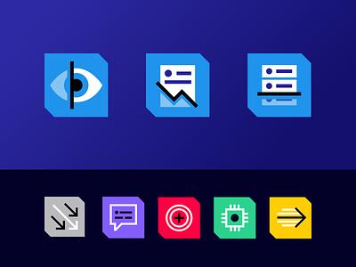 Icons for Merlon Intelligence blue design geometric flat icon set icons