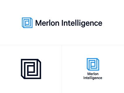 Merlon Intelligence - Logo design identity branding minimal minimalist logo construction wireframe black  white black logo design geometric symbol logo