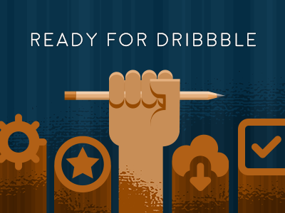 Ready for Dribbble icons pencil hand vector illustration
