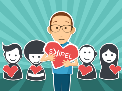 Skipel Random Users icons hearth skipel vector illustration