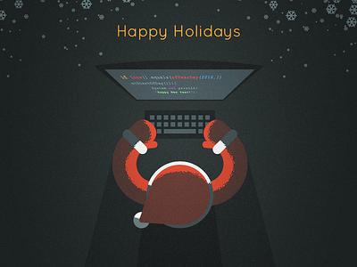 Software company Christmas card christmas computer santa vector illustration