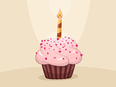Birthday cupcake cake illustration birthday cupcake