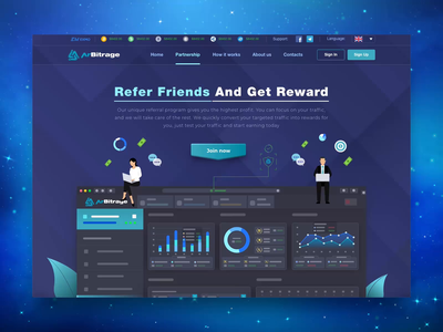 Affiliate Program Promo Page for Crypto Trading Platform product design contact form blockchain analytics extej web app platform trading lead page landing page investment dashboard referral affiliate web design crypto payment banking fintech finance