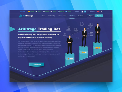 About Us Page for ArBitrage Crypto Trading Platform ui  ux ui design how it works web app extej trading webdesign web reviews blockchain about page about us about investment web design crypto payment banking fintech finance