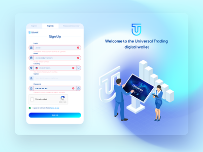 Sign In Sign Up Recovery Page Design for Fintech Saas Web App login screen saas design saas website login form web design registration page registration form login page product design sign in sign up branding illustration extej investment crypto payment banking fintech finance