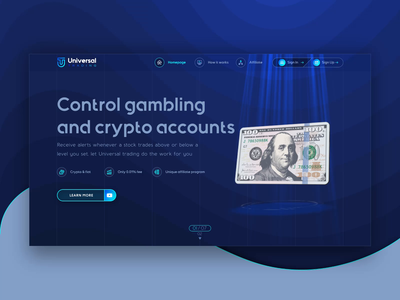 First Screen Animation of Landing Page for Gambling Saas Wallet webdesign web transition call to action first screen animation design ui  ux ui design web design extej dollars dollar money banking animation investment crypto payment fintech finance