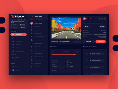 Real Estate Dashboard UI UX Web Design for Dlendo Crypto Saas user flow interaction design web app property investing trading ux ui dashboard saas extej fintech finance crypto realestate real estate web design product design