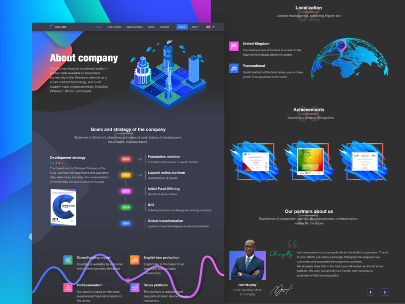 Cicotex blockchain investment platform | About page. bitcoin gradient chart investment design user interface design dark theme illustration web design extej design agency user experience design banking smart contract cryptocurrency payment ico crypto finance fintech blockchain
