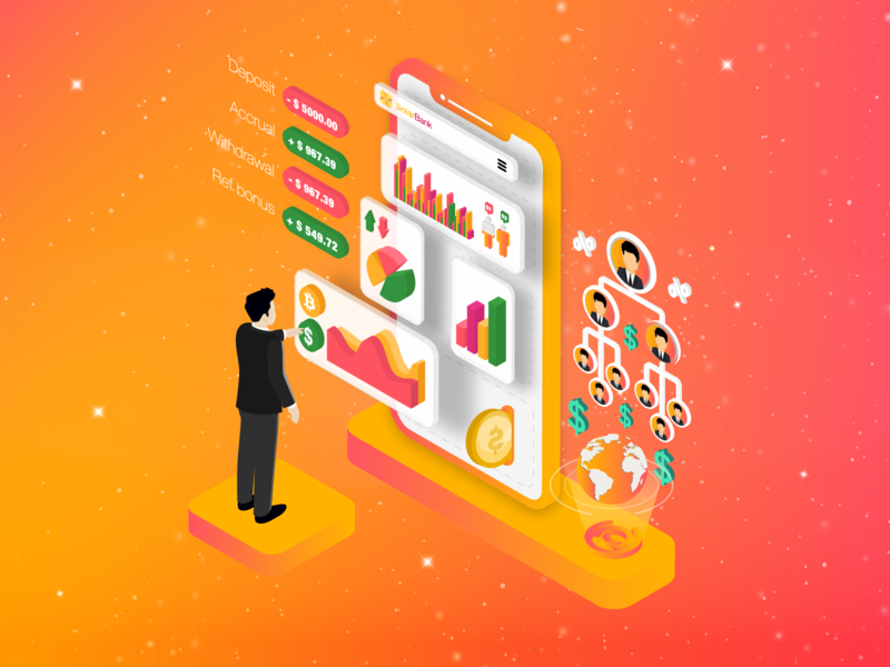 Isometric illustration for Fintech project coin design cryptocurrency user interface ui gradient blockchain extej design agency deposit investment mobile application bitcoin isometric illustration user experience design web design payment crypto banking finance fintech