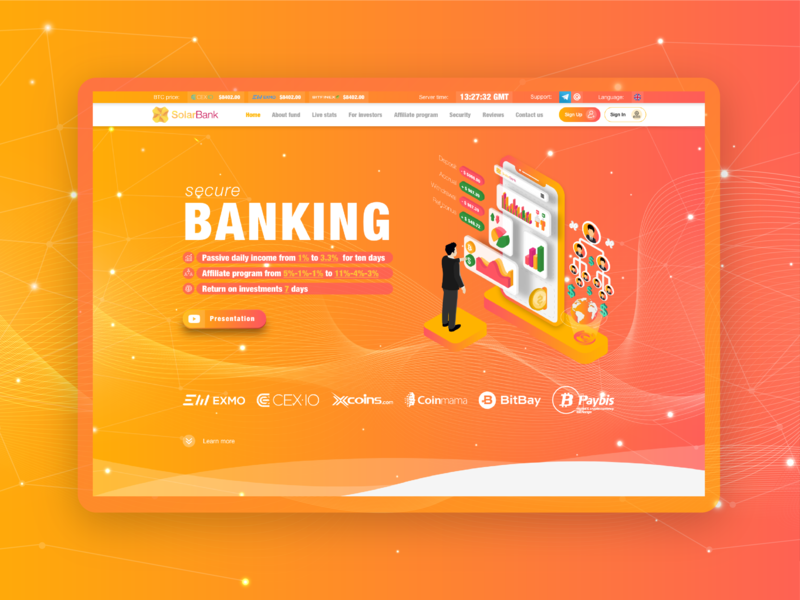 Landing page for Solar Bank financial project chart cryptocurrency extej landing page bank isometric illustration user interface user experience ui design ux design deposit payment investment illustration web design fintech finance crypto blockchain banking
