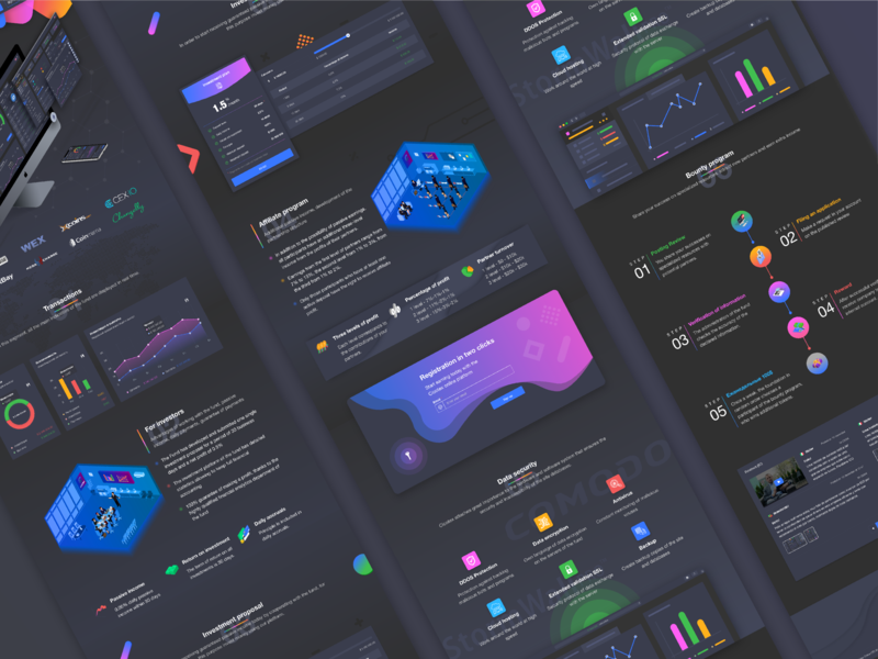 Fintech landing page for Cicotex blockchain project crypto dashboard illustration service design chart banking landing page web design investment extej ux ui uiux uxdesign uidesign cryptocurrency blockchain payment fintech finance
