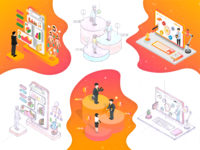 Isometric illustrations for financial landing page | SolarBank