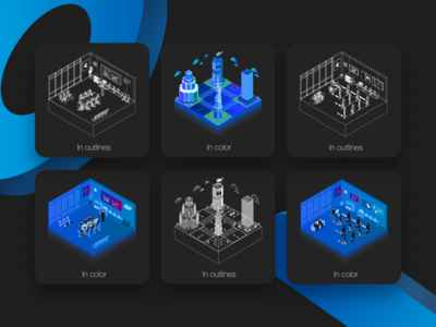 Isometric illustrations for fintech product