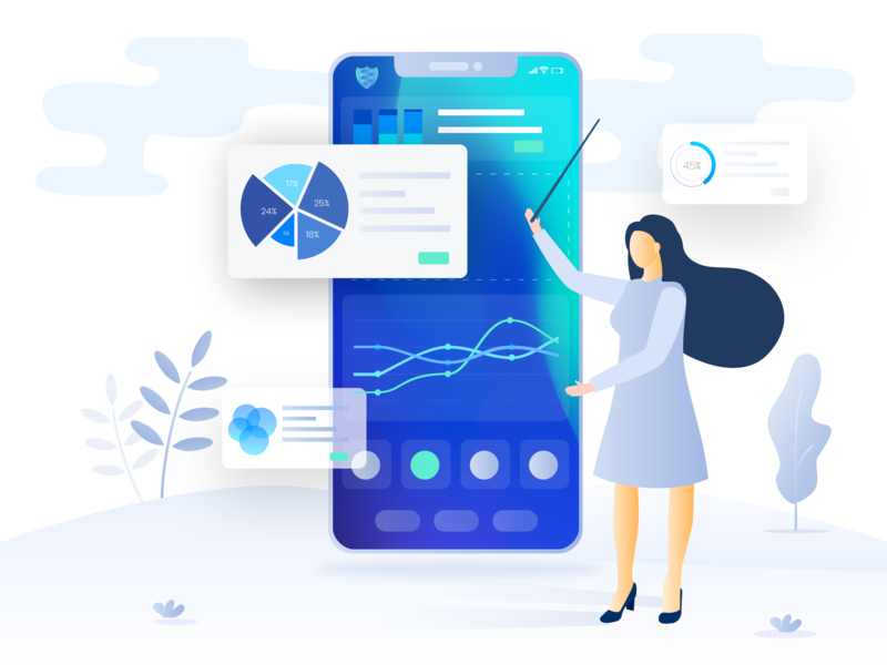 Dashboard illustration for a SaaS application mobile app mobile trading webapp application app vector character statistics account loan mortgage ui saas chart dashboard illustration platform fintech finance