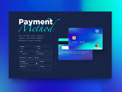 Credit Card Payment Method Form mobile payment page investment payment ui app checkout form credit card payment credit card checkout credit card design credit card saas banking fintech finance payment gateway payment app payment form payment method