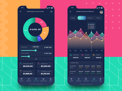 Mortgage calculator for a mobile real estate application app startup statistics budget android app design ios app design banking investing loan dashboard chart saas payment fintech finance mobile app design calculator mortgage real estate app real estate