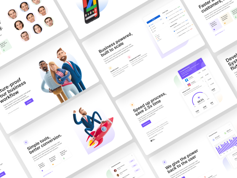 Landing Page Exploration color web typography business 3d character 3d illustration illustraion startup minimal ui design ux web design figma design ui