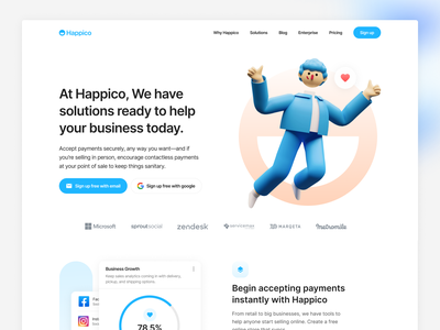 Happico - Landing Page Exploration card blog 3d illustration website web design ux design ux ui design ui typography responsive product design mobile ios interface design illustration icon cms branding app
