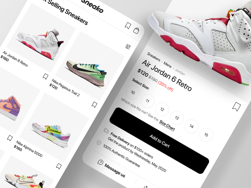 Sneako - Sneaker App Exploration web design startup nike sneaker product page mobile app ios app ios mobile responsive typography ux design ecommerce app ecommerce product design ux ui app ui app