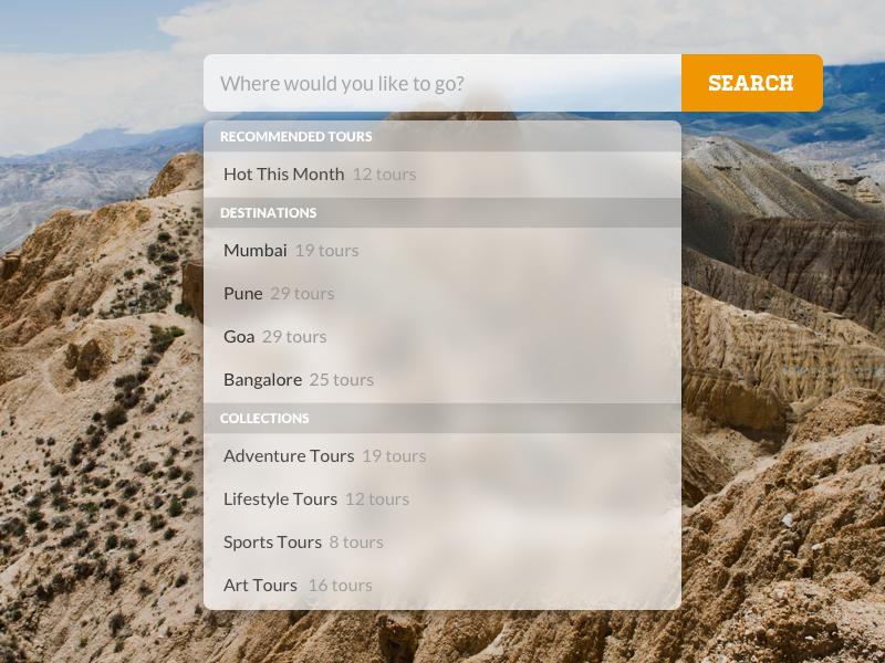 Search Bar & Dropdown travel inspiration website translucent mac search