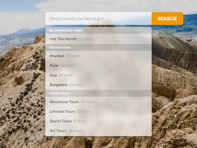 Search Bar & Dropdown travel inspiration website translucent mac search
