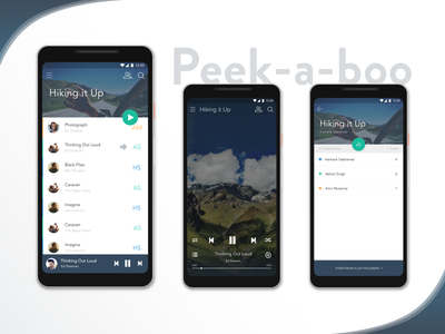 Peek-a-boo pixel playlist material design android music