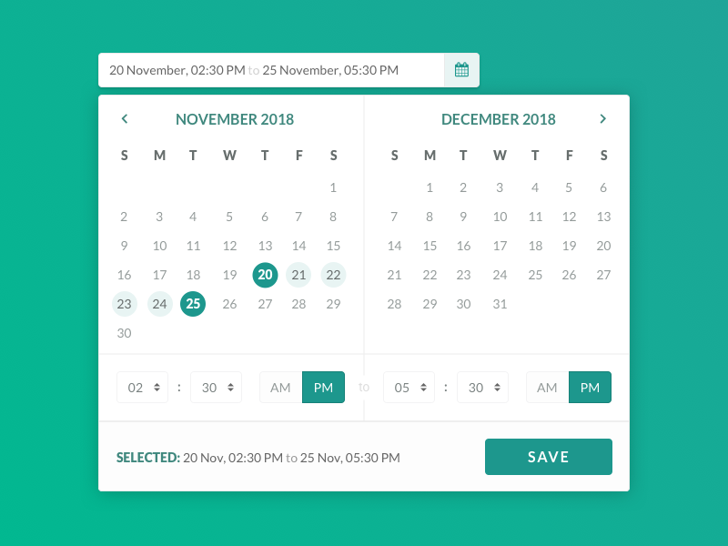 Date & Time Picker date time picker widget picker range time date