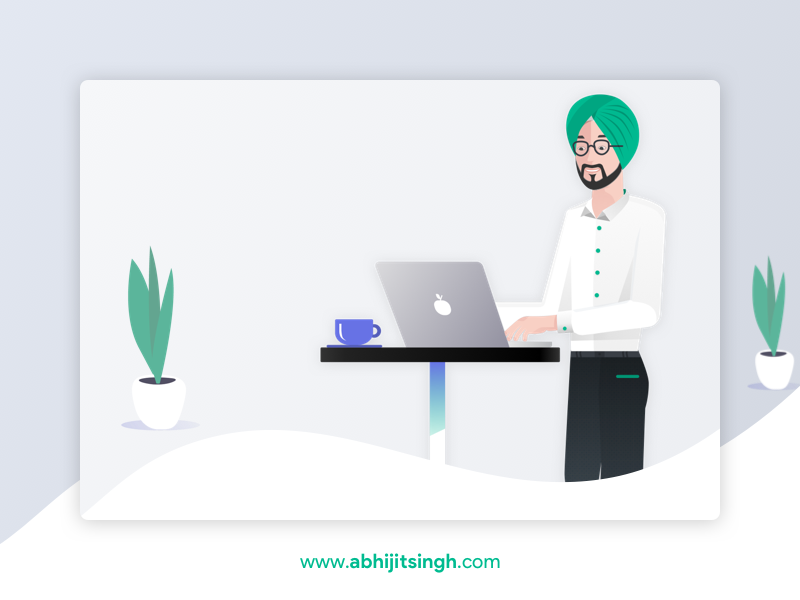 Portfolio Illustration sardar sikh coffee character person portfolio minimal work illustration