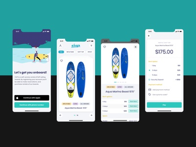 SUP board rental company - Mobile app design app ui ux ios app  design branding logo ui