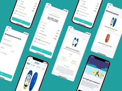 SUP board rental company - Mobile app logo ui design mobile ios app  design ui ux app