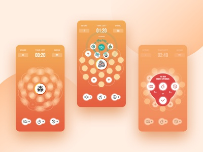 Memory in Orbit ux design orbit kanji orange unity android memory game game illustration motion ui branding