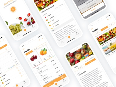 Fruity Capture App Design image recognition artificial intelligence food and drink food calories recipes fruit app app  design ui ux orange