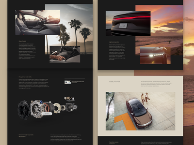 Lucid Product pages modular design components grid photography website layout cgi car automotive
