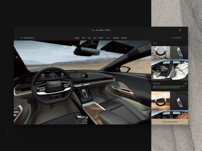 Lucid: Configurator Desktop / Interior ScreenRecording scroll checkbox interface interior 3d environment colors color selection menu configure configurator car automotive