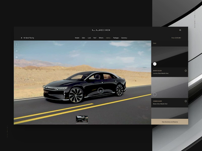 Lucid: Configurator / Exterior / Desktop hotspot hotspots select tabs checkbox scroll menu configurator auto car automotive