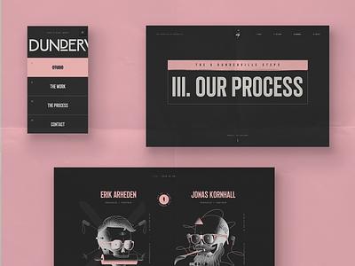 Dunderville, Identity, branding, website scroll fullscreen mobile webdesign website navigation menu process skull