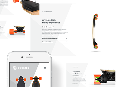 Boosted Boards: product page diagonals clean white scroll longpage longboard skateboard product productpage