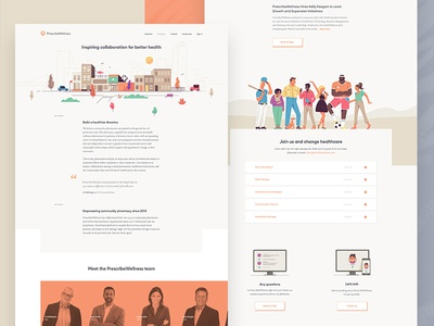 PrescribeWellness Company page pharmacy page company layout illustrations health doctor clean care animation