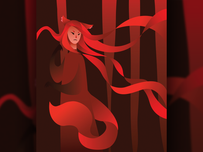 Foxwraith gradient minimalist contrast dark poster drawing vector illustration vector graphics concept fox vector art illustration