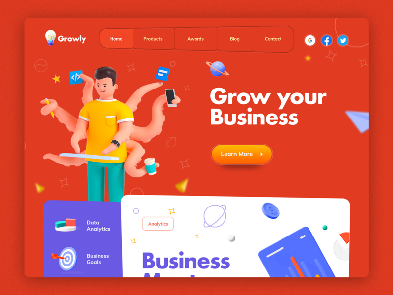 Minimal 3d Design illustration uiux growth website phone office keyboard llustraion grow felicart career business 3d
